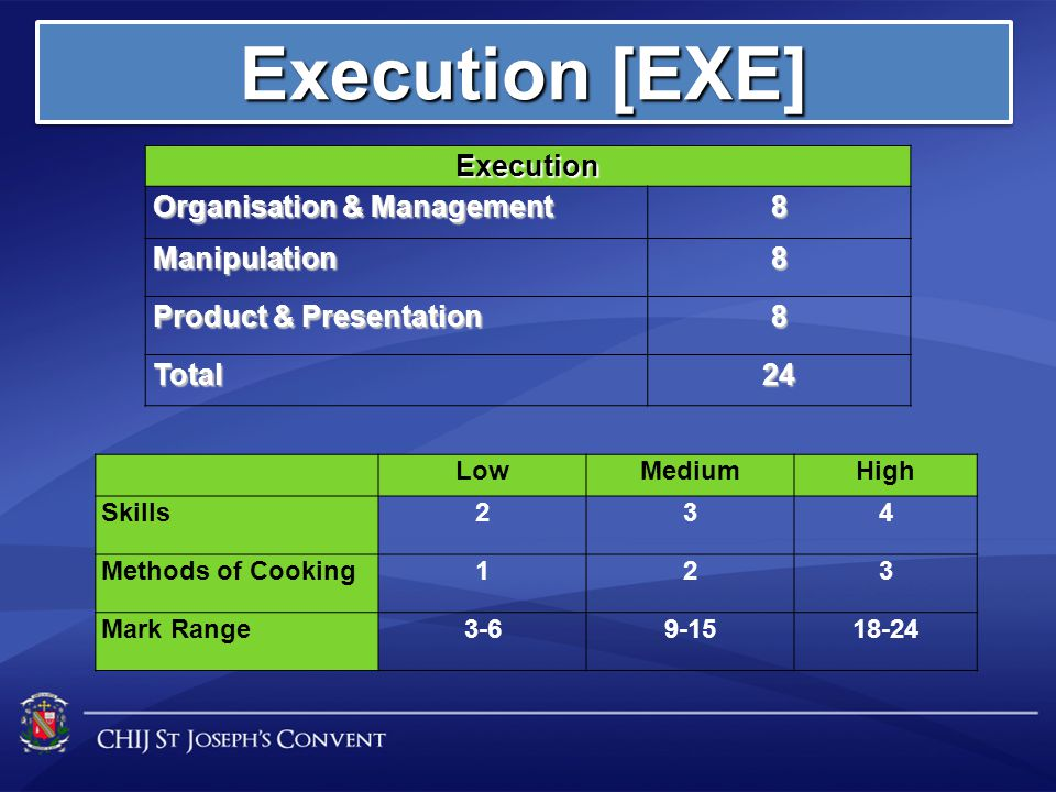 Execution [EXE] Execution Organisation & Management 8 Manipulation